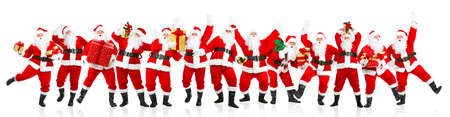 Happy dancing Christmas Santa. Isolated over white background  photo