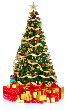xmas background: Christmas Tree  and Gifts. Over white background  Stock Photo