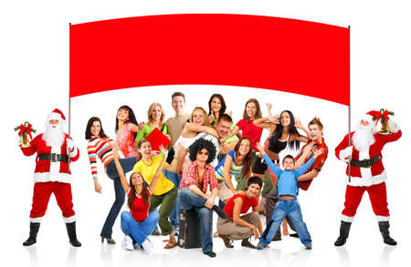 huge: Happy People and Christmas Santa. Over white background