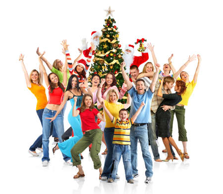 Happy People, Santa and Christmas tree. Over white background  photo