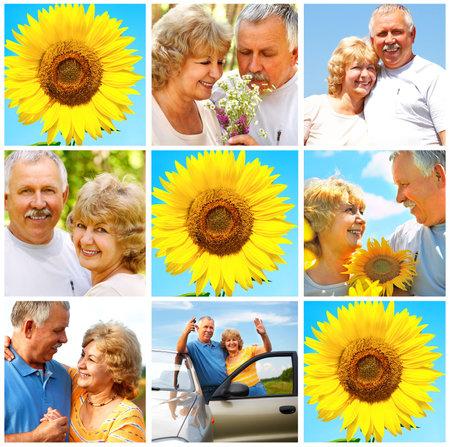 Smiling happy elderly couple in love outdoor Stock Photo - 3826992