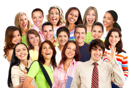 Happy smiling people. Over white background