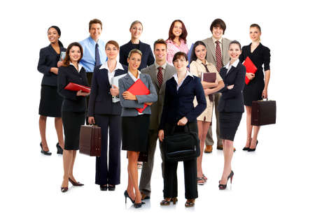 staff meeting: Smiling  business people. Isolated over white background   Stock Photo
