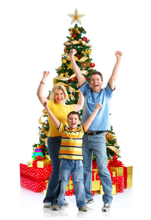 Happy couple in love and Christmas tree. Over white background Stock Photo - 3860854