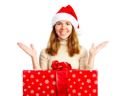 Happy woman and Christmas Present. Over white background  photo