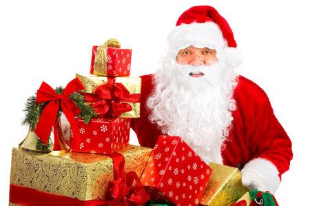 claus: Feliz Navidad Santa con regalos. M�s de fondo blanco