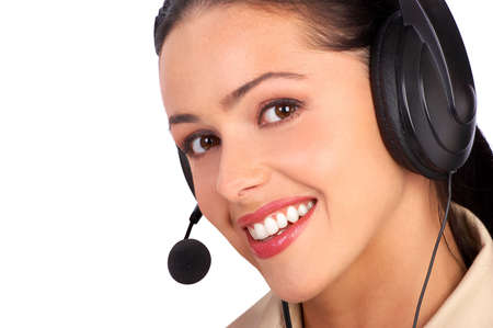 handsfree phones: Beautiful  business woman with headset. Over white background