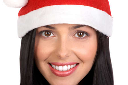 Beautiful young smiling Santa woman . Isolated over white  background  photo