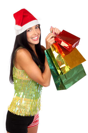 Christmas Shopping  woman smiling. Over white background Stock Photo - 3884468