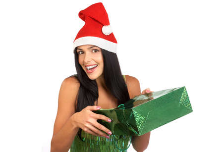 Christmas Shopping  woman smiling. Over white background Stock Photo - 3884443