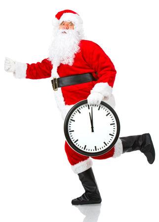 Happy running Christmas Santa. Isolated over white background Stock Photo - 3884441