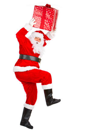 Happy running Christmas Santa. Isolated over white background Stock Photo - 3884448