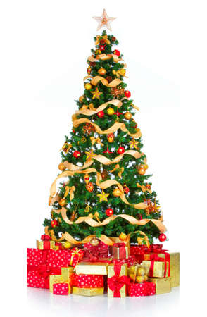 Christmas Tree and decorations. Over white background  photo