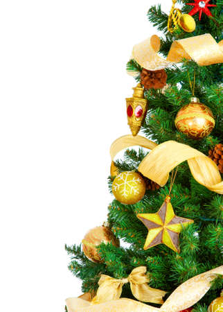 Christmas Tree and decorations. Over white background Stock Photo - 3885933