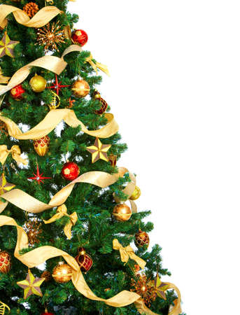 xmas background: Christmas Tree and decorations. Over white background