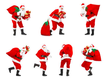 christmas gift: Happy Christmas Santa. Isolated over white background