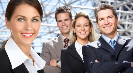 company: Business  people in the downtown. Businessmen and business woman  Stock Photo