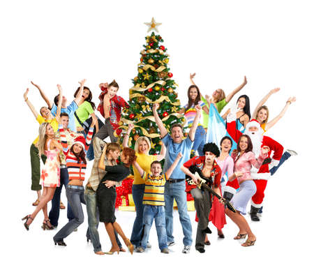 Happy People, Santa en de kerstboom. Over witte achtergrond Stockfoto