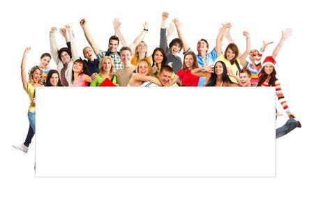 euforia: Feliz gracioso personas. Aislado sobre fondo blanco