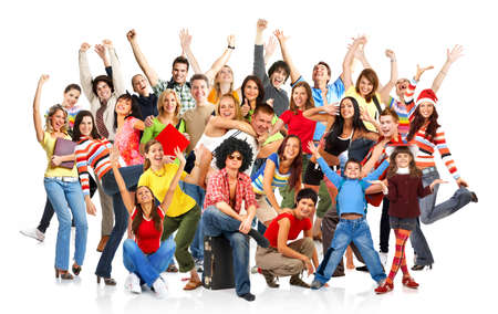 large crowd of people: Happy funny people. Isolated over white background