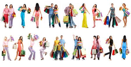 centro comercial: Compras sonriente personas. Aislado sobre fondo blanco