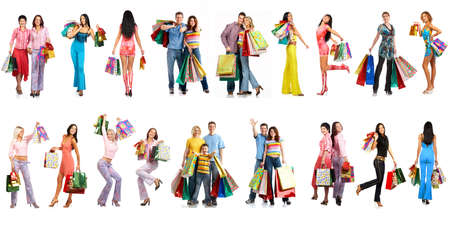happy shopper: Shopping smiling people. Isolated over white background  Stock Photo