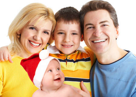 Happy family. Father, mother, baby and boy. Over white background  photo