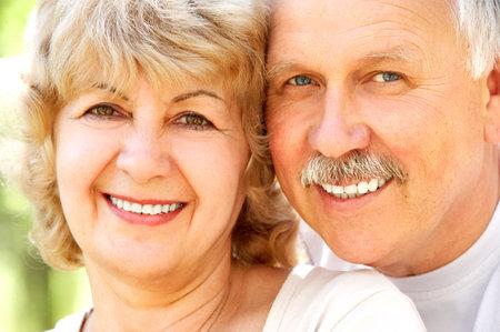 Smiling happy  elderly couple in love outdoor Stock Photo - 3934294