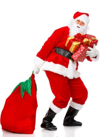 claus: Feliz Navidad Santa. Aislado sobre fondo blanco