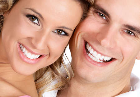 teeth white: Couple  in love smiling. Over white background