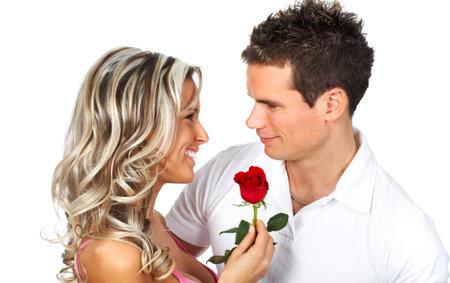 parejas enamoradas: Amor en la pareja sonriente. M�s de fondo blanco Foto de archivo