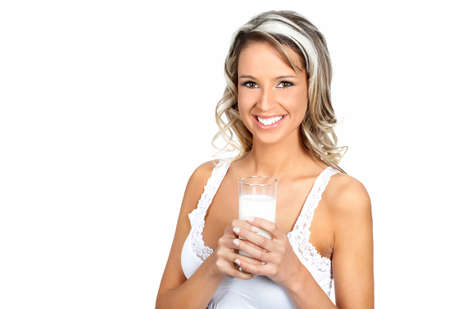 Young happy woman  drinking milk. Over white background Stock Photo - 3943549