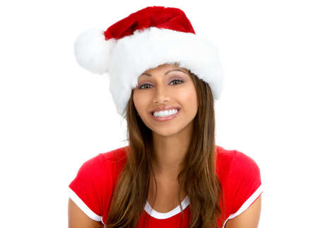 Christmas woman in a Santa Cap. Isolated over white background