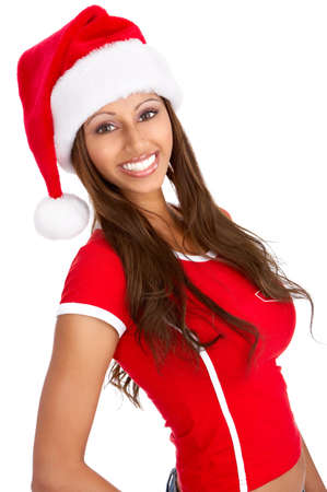 Christmas woman in a Santa Cap. Isolated over white background Stock Photo - 3943589