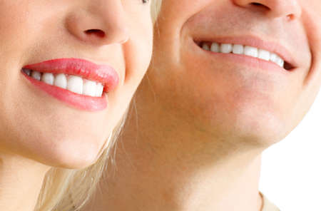 Man and woman smile. Over  white background