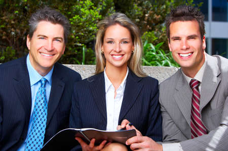 teamworking: Business  people meeting in the downtown.  Stock Photo