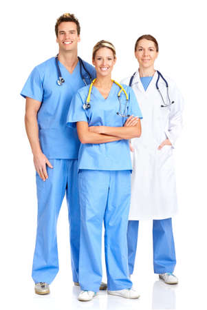 Smiling medical doctors with stethoscopes. Isolated over white background Stock Photo - 4023267