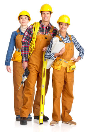 perforate: Young builder people  in yellow uniforms. Isolated over white background  Stock Photo