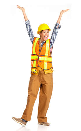 Young happy  builder woman in yellow uniform. Isolated over white background
