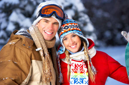 Young  happy smiling couple in love. Winter Stock Photo - 4023304
