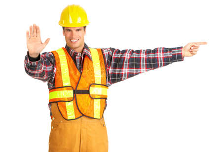 Young handsome builder in yellow uniform. Isolated over white background  photo
