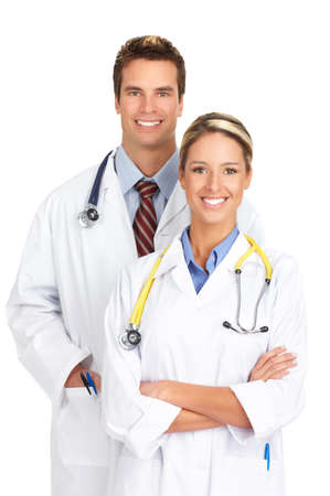 Smiling medical doctors with stethoscopes. Isolated over white background Stock Photo - 4023246