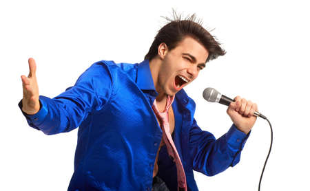 Happy karaoke signer. Isolated over white background  Stock Photo