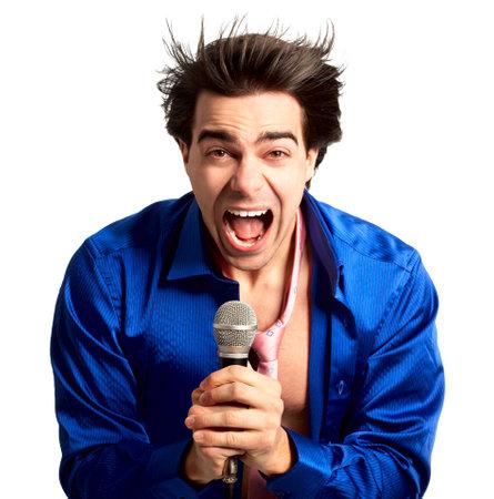 Happy karaoke signer. Isolated over white background  Stock Photo