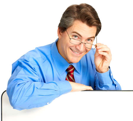 Mature smiling businessman. Isolated over white background   photo