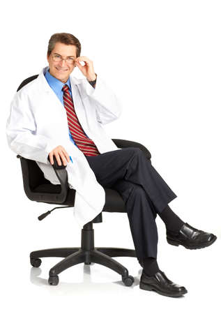 Smiling medical doctor. Isolated over white background  photo