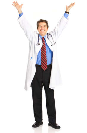 Happy medical doctor with stethoscope. Isolated over white background