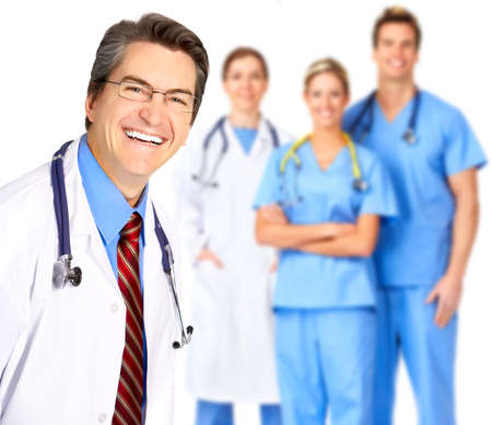 dental practice: Smiling medical people with stethoscopes. Isolated over white background  Stock Photo