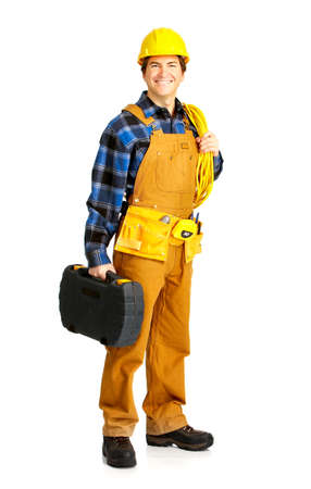 Mature handsome builder in yellow uniform. Isolated over white background Stock Photo - 4080242