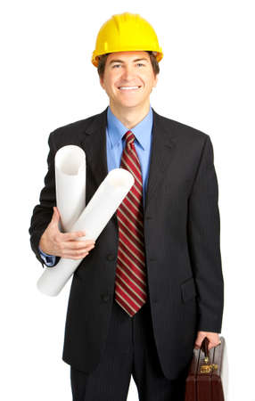 Mature handsome architect. Isolated over white background  photo